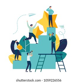 Business concept vector illustration, little people climb the corporate ladder, the concept of career growth, career planning