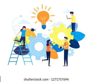 Business concept vector illustration, little people are launching a mechanism to achieve ideas, a light lamp bulb is shining, an idea appears, a symbol of creativity, mind, thinking. Flat style