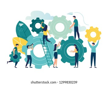 Business concept of vector illustration, little people links of mechanism, business mechanism, abstract background with gears, people are engaged in business promotion, strategy analysis, communicatio