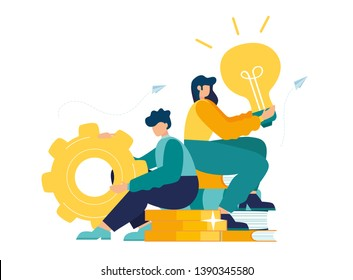 Business concept of vector illustration, little people with links of business mechanism, abstract background with gears