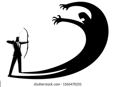 Business concept vector illustration of a man aiming his own shadow with a bow, facing fear, suppress own ego concept
