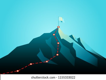Business concept vector illustration of a mountain with red path graphic, route to mountain peak, business journey and planning concept.