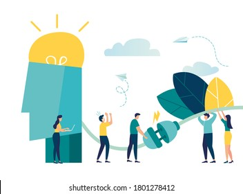 Business concept vector illustration, network connection, brainstorming, light bulb lights up as a creative idea, brain charging