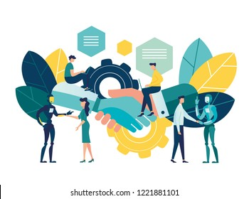 Business concept vector illustration, concept of partnership with artificial intelligence, agreement of the parties, handshake documents