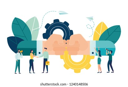 Business concept vector illustration, partnership concept, agreement of parties, friendly greeting.