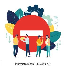 Business concept vector illustration, problems at work, stress, work, fatigue, emotions, frustration, weaknesses