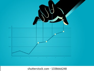 Business concept vector illustration of a puppet master controlling graphic chart
