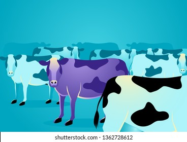 Business concept vector illustration of a purple cow amongst ordinary cows, marketing concept that states that companies must build things worth noticing right into their products or services