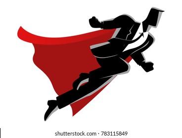 Business concept vector illustration of super businessman flying on clouds, super worker, success concept