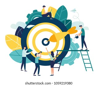 Business concept vector illustration, Target with an arrow, hit the target, goal achievement