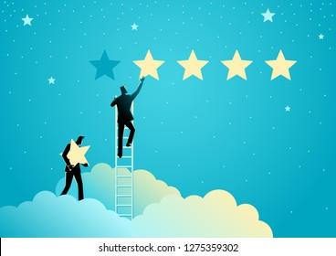 Business concept vector illustration of two businessmen giving five stars rating