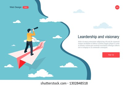 Business concept of vision. Conceptual  with businessman on a paper plane with a telescope .Symbol of the leader man, success, ambition, leadership, future.Vector illustration.