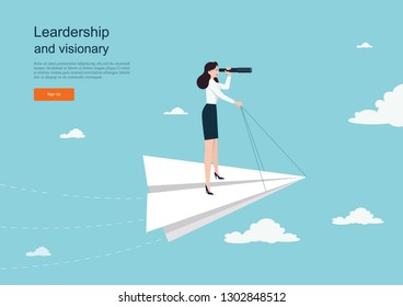Business concept of vision. Conceptual  with businesswoman on a paper plane with a telescope .Symbol of the leader woman, success, ambition, leadership, future.Vector illustration.