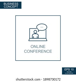 Business concept, web icon from thin lines. Online conference - Vector