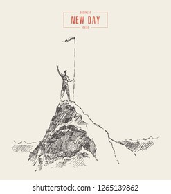 Business concept of winner, leadership, man on top of a mountain with a flag, vector illustration, hand drawn, sketch