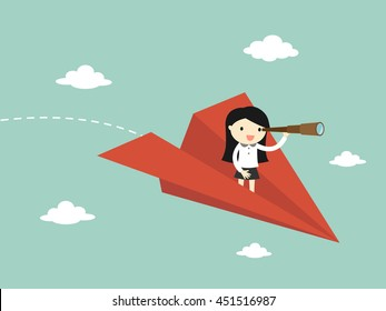 Business concept, Business woman is flying while using telescope. Vector illustration.