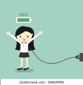Business concept, Business woman with full battery. Vector illustration.