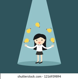 Business concept, business woman juggling many light bulbs in the spotlight. Vector illustrator.