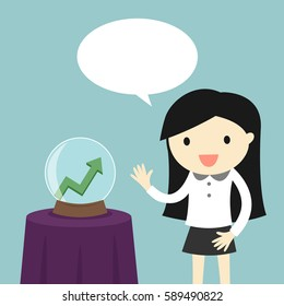 Business concept, Business woman is talking about crystal ball with growth graph inside. Vector illustration.