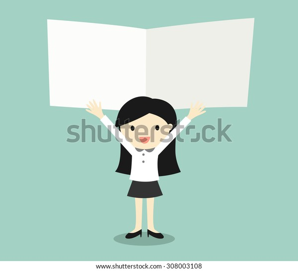 Business concept, Business women holding blank notes with green background. Vector illustration.