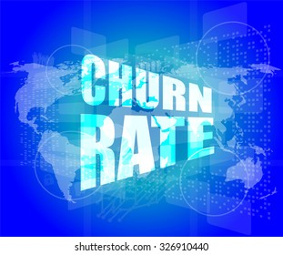 business concept: words churn rate on digital screen vector illustration