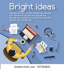 business concept - work concept - top view of man working on a desktop computer - bright ideas - small business - set of objects on a desktop with beautiful color distributed randomly - flat design