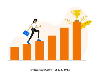 Business concept. Young woman running and climbing up to her goal on the column of columns. Moving up motivation. Career growth metaphor.  The path to the target's achievement. Vector illustration.
