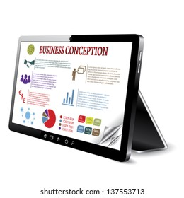 Business conception on the tablet computer screen. Vector illustration