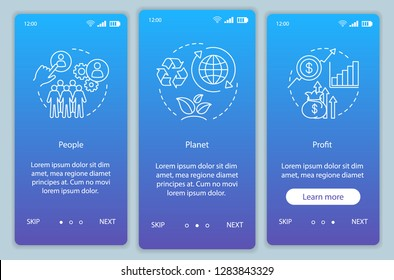 Business conception onboarding mobile app page screen template. People, planet and profit walkthrough website steps. Resource management. Triple bottom line. TBL. UX, UI, GUI smartphone interface