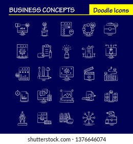 Business Concepts Hand Drawn Icons Set For Infographics, Mobile UX/UI Kit And Print Design. Include: Dollar, Money, Coin, Currency, Scale, Cup, Drink, Tea, Collection Modern Infographic Logo and Picto