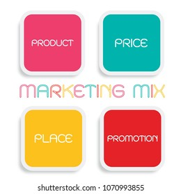 Business Concepts, Illustration of Marketing Mix or 4Ps Model for Management Strategy Diagram in Colorful Pink, Green, Yellow and Red Colors. A Foundation Concept in Marketing.