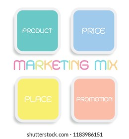 Business Concepts, Illustration of Marketing Mix or 4Ps Model for Management Strategy Diagram in Colorful Green, Blue, Yellow and Orange Colors. A Foundation Concept in Marketing.