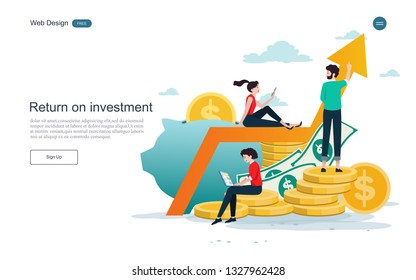 Business concepts for investment. Return on investment in finance and marketing, business analysis and cooperation.Vector illustration.