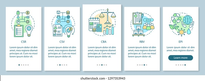 Business concepts onboarding mobile app page screen vector template. CSR. Corporate principles. Business ethics. Walkthrough website steps with linear illustrations. UX, UI, GUI smartphone interface