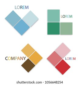 Business Concepts, Vector Set of Abstract Colorful Logo for Company. Blue, Green, Brown and Pink Colors.