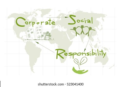 Business Concepts, World Environment with CSR Abbreviation or Corporate Social Responsibility Achieve Notes.
