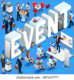 Business Conference Background Event Group Isometric Business People. 3D meeting infographic crowd stand casual people icon set. Conference meeting background collection background vector illustration