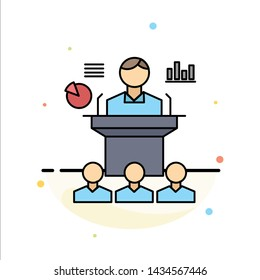 Business, conference, convention, presentation, seminar Flat Color Icon Vector