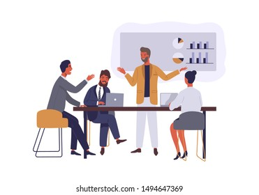 Business conference flat vector illustration. Boss and employees discussing project isolated cartoon characters on white background. Manager presenting company financial report. Brainstorming team.