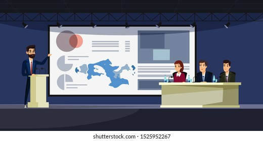 Business conference flat vector illustration. Speaker on stage cartoon characters. Scientific presentation, academic symposium, professional briefing. University lecture, college faculty
