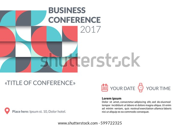 Business conference invitation concept. Colorful simple geometric pattern on white background. Template for banner, poster, flyer, magazine page. Vector eps 10.