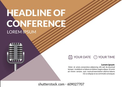 Business conference invitation concept with retro microphone. Colorful simple geometric background. Template for banner, poster, flyer, magazine page. Vector eps 10.