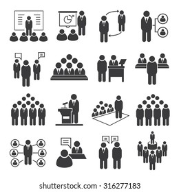 business conference and business meeting icons set