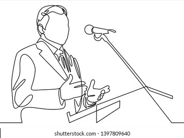 Business conference, business meeting. Man at rostrum in front of audience. Public speaker giving a talk at conference hall- continuous line drawing