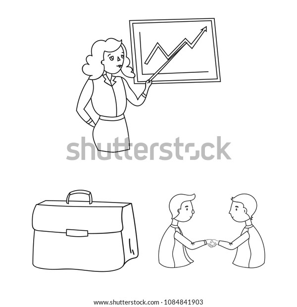 Business Conference And Negotiations outline icons in set collection for design.Business and training vector symbol stock web illustration.