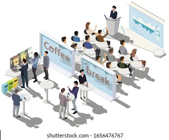 Business conference. Business presentation, meeting room. Business training or courses concept with tribune, scene, infographic on screen, coffee break zone. Vector isometric, 3d, illustration.