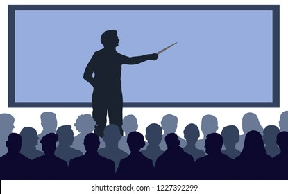 Business conference, presentation. Teacher, speaker stands near the screen. Lecture at the university, training. Lecturer lesson. Courses of knowledge. Silhouette Vector Illustration