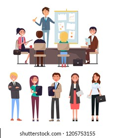 Business conference, seminar with workers and boss vector. Whiteboard and charts, diagrams and strategy plan. Chief executive, office employees rally