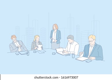 Business, conference, teamwork, company, staff concept. Young head of company set team staff to discuss new projects. Business conference is dedicated to current companys problems. Simple flat vector