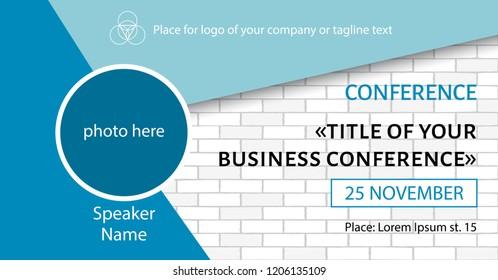 Business conference template. Facebook event link banner design
